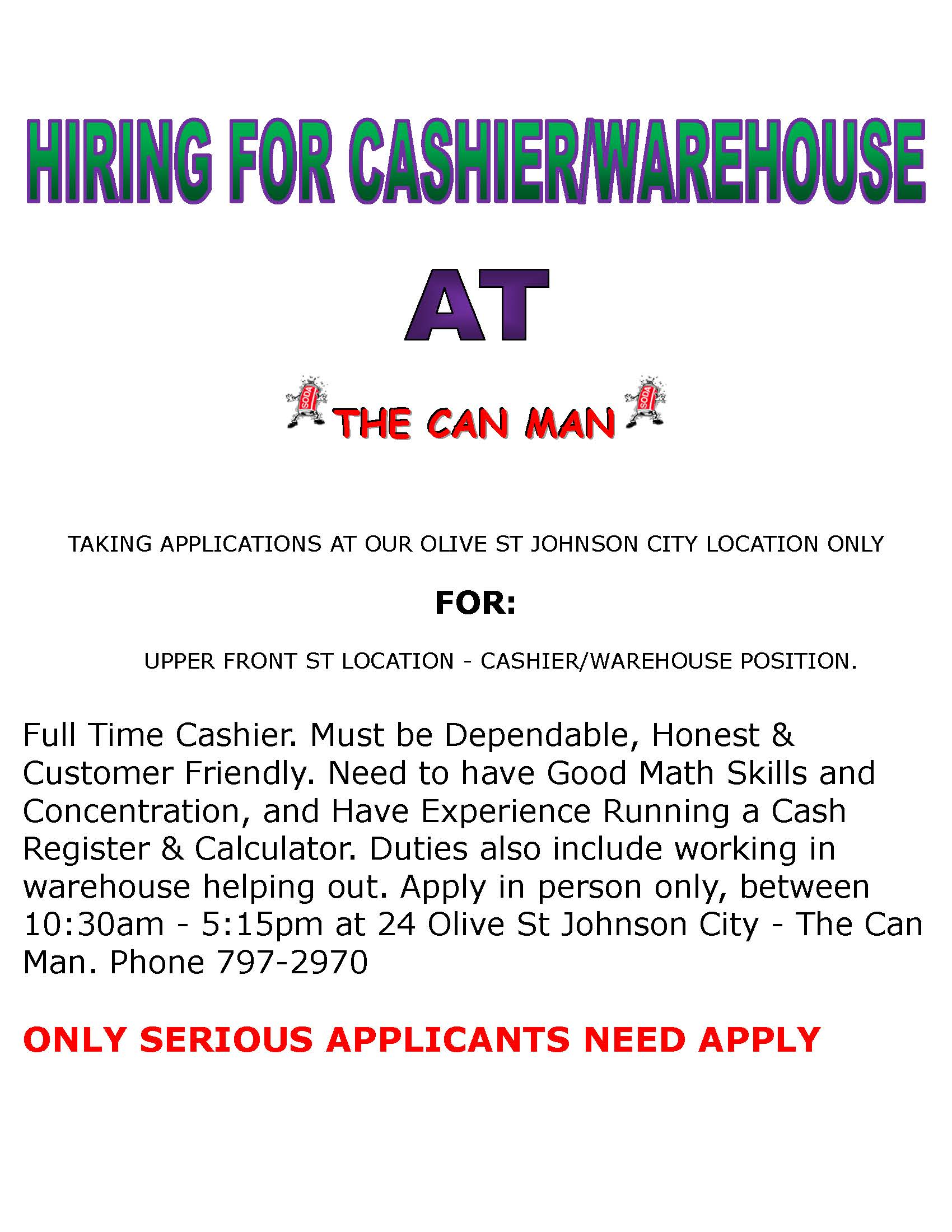 HELP WANTED Cashier