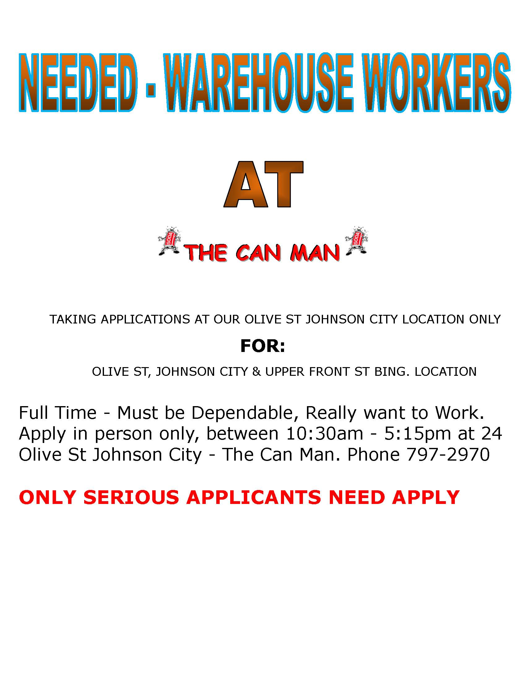 HELP WANTED Warehouse